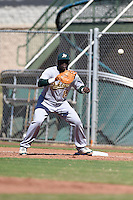 Oakland Athletics first baseman Sandber Pimentel (15) during an Instructional League game against the San Francisco Giants on October 13, 2014 at Giants Baseball Complex in Scottsdale, Arizona.  (Mike Janes/Four Seam Images)