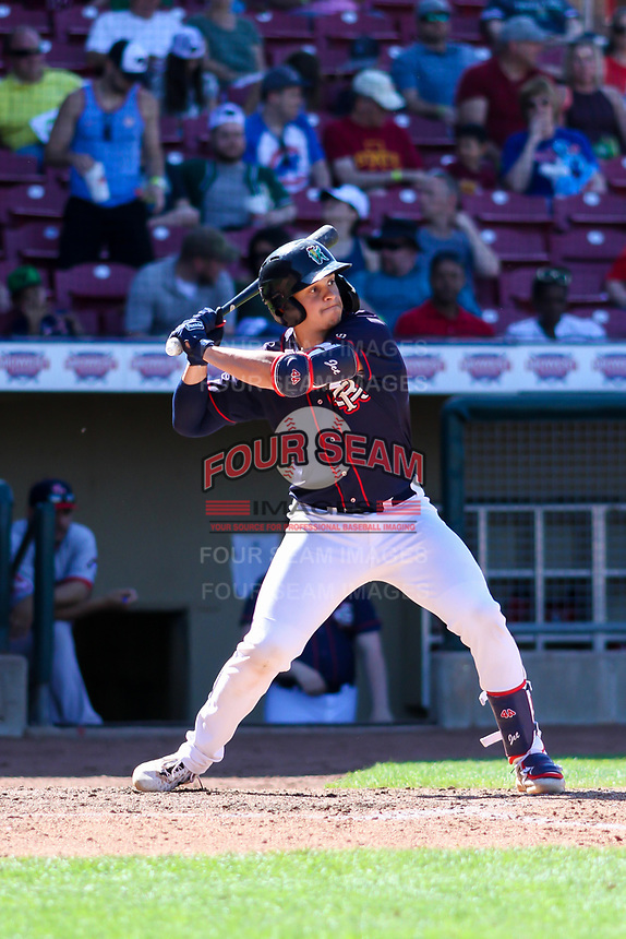 Cedar Rapids Kernels catcher Ben Rodriguez (23) at bat during a Midwest League game against the Peoria Chiefs on May 26, 2019 at Perfect Game Field in Cedar Rapids, Iowa. Cedar Rapids defeated Peoria 14-1. (Brad Krause/Four Seam Images)