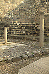 Israel, Sea of Galilee, ruins of the ancient Synagogue at the Archaeological Park in Tiberias