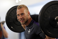 Pictured: Mike van der Hoorn lifts weights in the gym Wednesday 14 September 2016<br /> Re: Swansea City FC training at Fairwood, Wales, UK