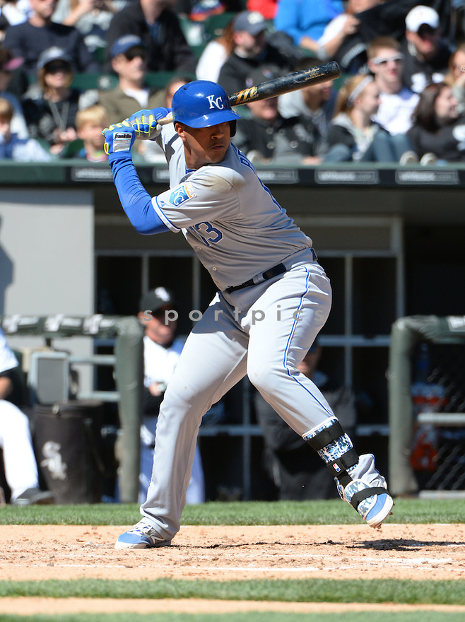 Kansas City Royals Salvador Perez (13) during a game against the Chicago White Sox on April 26, 2015 at US Cellular Field in Chicago, IL. The White Sox beat the Royals 5-3.
