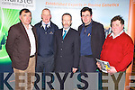 SEMINAR: MEP Sean Kelly guest speaker a the Munster Cattle Breeding Group Dairy seminar at the Ballyroe Heights hotel, Tralee on Thursday l-r: Sean Brosnan (chairman Kerry IFA), Jerome Leen (Munster Cattle Breeding Group), Sean Kelly MEP,  James McCarthy (outgoing chairman Kerry IFA) and Flor O'Sullivan (Currans).