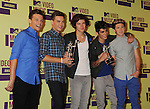 LOS ANGELES, CA - SEPTEMBER 06: Louis Tomlinson, Liam Payne, Harry Styles, Zayn Malik and Niall Horan of One Direction pose in the press room during the 2012 MTV Video Music Awards at Staples Center on September 6, 2012 in Los Angeles, California.