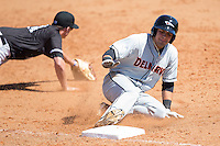 Alejandro Juvier (1) of the Delmarva Shorebirds slides into third base against the Kannapolis Intimidators at Kannapolis Intimidators Stadium on April 13, 2016 in Kannapolis, North Carolina.  The Intimidators defeated the Shorebirds 8-7.  (Brian Westerholt/Four Seam Images)