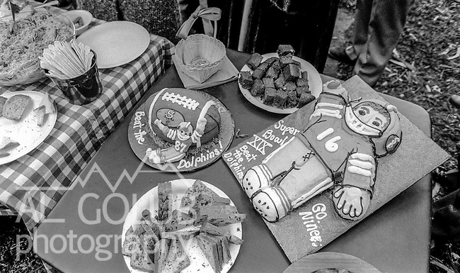 Homemade cakes and goodies at the Super Bowl XIX tailgate on the Stanford University campus. The San Francisco 49ers defeated the Miami Dolphins 38-16 on Sunday, January 20, 1985.