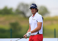 Nacho Elvira (ESP) on the 1st tee during Round 1 of the Challenge de Madrid, a Challenge  Tour event in El Encin Golf Club, Madrid on Wednesday 22nd April 2015.<br /> Picture:  Thos Caffrey / www.golffile.ie