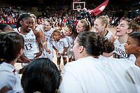 STANFORD, CA-JANUARY 28, 2011: The Stanford Cardinal celebrate a win during a 74-71 overtime win over the Cal Bears.