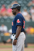 Salem Red Sox manager Carlos Febles (33) coaches third base during the game against the Winston-Salem Dash at BB&T Ballpark on June 18, 2015 in Winston-Salem, North Carolina.  The Red Sox defeated the Dash 8-2.  (Brian Westerholt/Four Seam Images)