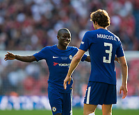 Chelsea's Ngolo Kante celebrates with team mate Marcos Alonso at the final whistle <br /> <br /> Photographer Craig Mercer/CameraSport<br /> <br /> Emirates FA Cup Final - Chelsea v Manchester United - Saturday 19th May 2018 - Wembley Stadium - London<br />  <br /> World Copyright &copy; 2018 CameraSport. All rights reserved. 43 Linden Ave. Countesthorpe. Leicester. England. LE8 5PG - Tel: +44 (0) 116 277 4147 - admin@camerasport.com - www.camerasport.com