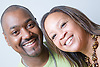 Portrait of a couple smiling,