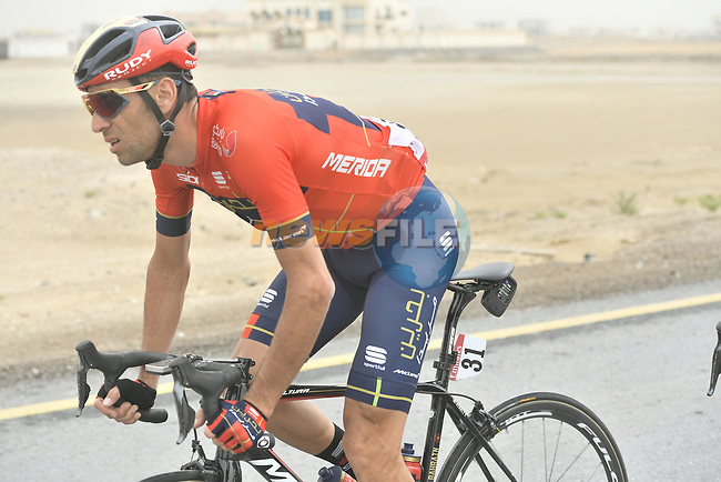 Vincenzo Nibali (ITA) Bahrain-Merida during Stage 6 of the 2019 UAE Tour, running 175km form Ajman to Jebel Jais, Dubai, United Arab Emirates. 1st March 2019.<br /> Picture: LaPresse/Fabio Ferrari | Cyclefile<br /> <br /> <br /> All photos usage must carry mandatory copyright credit (© Cyclefile | LaPresse/Fabio Ferrari)