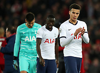 27th October 2019; Anfield, Liverpool, Merseyside, England; English Premier League Football, Liverpool versus Tottenham Hotspur; a dejected Dele Alli of Tottenham Hotspur applauds the visiting supporters after the final whistle - Strictly Editorial Use Only. No use with unauthorized audio, video, data, fixture lists, club/league logos or 'live' services. Online in-match use limited to 120 images, no video emulation. No use in betting, games or single club/league/player publications