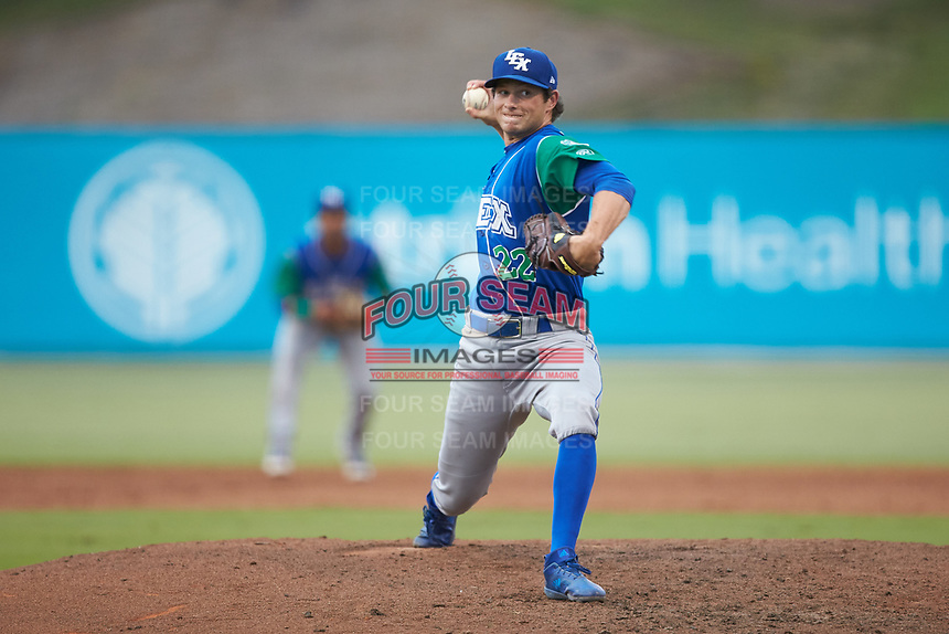 Lexington Legends relief pitcher Brandon Marklund (22) in action against the Kannapolis Intimidators at Kannapolis Intimidators Stadium on August 4, 2019 in Kannapolis, North Carolina. The Legends defeated the Intimidators 5-1. (Brian Westerholt/Four Seam Images)