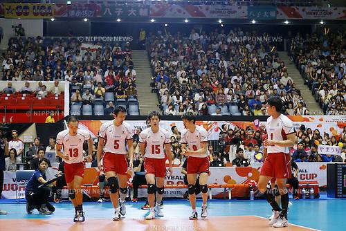 (L-R) Hideomi Fukatsu, Yoshifumi Suzuki, Masahiro Yanagida, Yuki Ishikawa, Kunihiro Shimizu (JPN), SEPTEMBER 21, 2015 - Volleyball : FIVB Men's World Cup 2015 A-site 3rd Round between Japan 0-3 Argentina 1st Yoyogi Gymnasium in Tokyo, Japan. (Photo by Yusuke Nakanishi/AFLO SPORT)