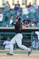 Beau Amaral #12 of the Bakersfield Blaze bats against the Lancaster JetHawks at The Hanger on May 13, 2014 in Lancaster California. Lancaster defeated Bakersfield, 1-0. (Larry Goren/Four Seam Images)
