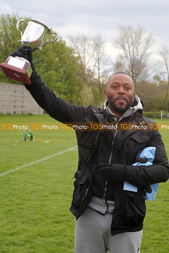 Tommy Flynns collect the trophy, Tommy Flynns (Orange) vs Wojak Sunday, Hackney & Leyton Sunday League Jack Walpole Cup Final Football at Hackney Marshes on 24th April 2016