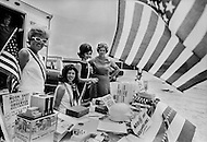 July 16, 1969., Cape Kennedy, Florida, USA --- People sell memorabilia to crowds waiting to watch the launch of Apollo XI.