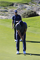 Former NFL Dallas Cowboys quarterback and now CBS commentator Tony Romo birdie putt on the 4th green at Spyglass Hill during Thursday's Round 1 of the 2018 AT&amp;T Pebble Beach Pro-Am, held over 3 courses Pebble Beach, Spyglass Hill and Monterey, California, USA. 8th February 2018.<br /> Picture: Eoin Clarke | Golffile<br /> <br /> <br /> All photos usage must carry mandatory copyright credit (&copy; Golffile | Eoin Clarke)