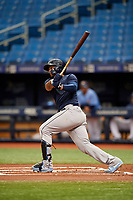 Ronaldo Hernandez (18) hits a double during the Tampa Bay Rays Instructional League Intrasquad World Series game on October 3, 2018 at the Tropicana Field in St. Petersburg, Florida.  (Mike Janes/Four Seam Images)