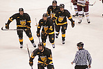 March 25,  2011             Colorado College players leave the ice after an early first-period goal.  In center is Colorado College forward Jaden Schwartz (8) who is a St. Louis Blues draft pick. The Boston College Eagles played against the Colorado College Tigers in the second semifinal of the NCAA Division 1 Men's West Regional Hockey Tournament, on Friday March 25, 2011 at the Scottrade Center in downtown St. Louis.