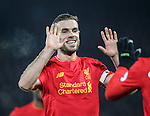 Liverpool's Jordan Henderson celebrates his sides fourth goal during the Premier League match at Anfield Stadium, Liverpool. Picture date December 27th, 2016 Pic David Klein/Sportimage