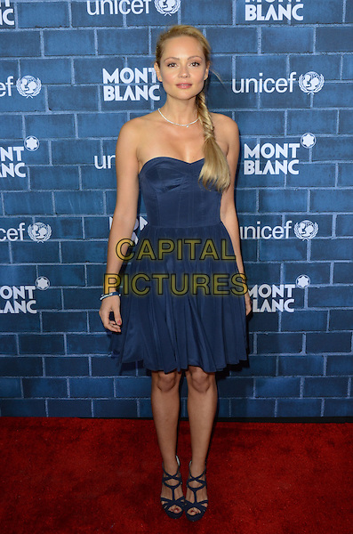 Beatrice Rosen.Montblanc Hosts Pre-Oscar Charity Brunch Benefiting UNICEF held at Hotel Bel-Air, Los Angeles, California, USA..February 23rd, 2013.full length blue strapless dress hair braid plait .CAP/ADM/TW.©Tonya Wise/AdMedia/Capital Pictures