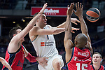 Real Madrid Fabien Causeur and Baskonia Vitoria Matt Janning and Jayson Granger during Turkish Airlines Euroleague match between Real Madrid and Baskonia Vitoria at Wizink Center in Madrid, Spain. January 17, 2018. (ALTERPHOTOS/Borja B.Hojas)