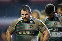 Fraser Balmain of Leicester Tigers leaves the field dejected after the match. Aviva Premiership match, between Leicester Tigers and Sale Sharks on February 6, 2016 at Welford Road in Leicester, England. Photo by: Patrick Khachfe / JMP