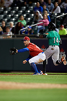 Buffalo Bisons first baseman Patrick Kivlehan (14) during an International League game against the Norfolk Tides on June 21, 2019 at Sahlen Field in Buffalo, New York.  Buffalo defeated Norfolk 1-0, the second game of a doubleheader.  (Mike Janes/Four Seam Images)