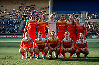 Seattle, Washington -  Saturday April 22, 2017: Houston Dash starting eleven during a regular season National Women's Soccer League (NWSL) match between the Seattle Reign FC and the Houston Dash at Memorial Stadium.