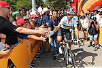 World Champion Alejandro Valverde (ESP) Movistar Team arrives at sign on before Stage 7 of La Vuelta 2019 running 183.2km from Onda to Mas de la Costa, Spain. 30th August 2019.<br /> Picture: Luis Angel Gomez/Photogomezsport | Cyclefile<br /> <br /> All photos usage must carry mandatory copyright credit (© Cyclefile | Luis Angel Gomez/Photogomezsport)