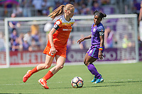 Orlando, FL - Saturday June 24, 2017: Janine Beckie, Jasmyne Spencer during a regular season National Women's Soccer League (NWSL) match between the Orlando Pride and the Houston Dash at Orlando City Stadium.