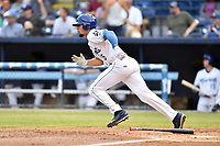 Asheville Tourists right fielder Willie Abreu (6) runs to first base during a game against the Rome Braves at McCormick Field on June 12, 2017 in Asheville, North Carolina. The Tourists defeated the Braves 7-0. (Tony Farlow/Four Seam Images)