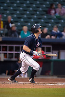 Northwest Arkansas Naturals outfielder Kort Peterson (9) connects on a pitch on May 18, 2019, at Arvest Ballpark in Springdale, Arkansas. (Jason Ivester/Four Seam Images)