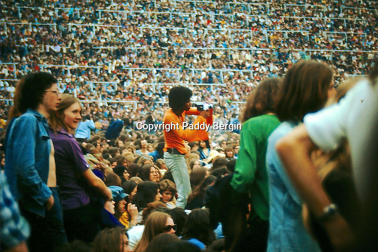 Crowd scene at THE WHO SUMMER OF 74, Charlton Athletic FC featuring The Who, Humble Pie, Lou Reed, Bad Company, Lindisfarne, Maggie Bell, Montrose.<br />