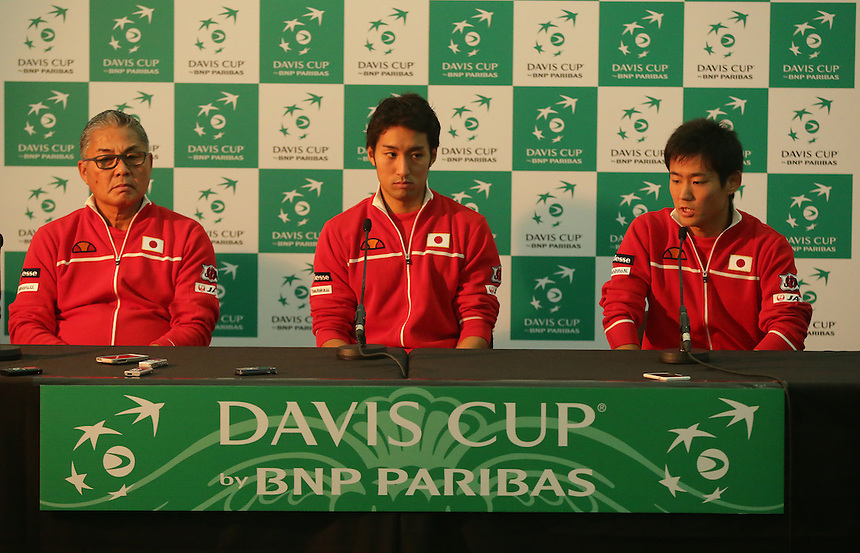 The Japanese team answer question in the post match press conference. Left to Right, Captain Minoru Ueda, Yasutaka Uchiyama and Yoshihito Nishioka<br /> <br /> Photographer Stephen White/CameraSport<br /> <br /> International Tennis - 2016 Davis Cup by BNP Paribas - World Group First Round - Great Britain v Japan - Day 2 - Saturday 5th March 2016 - Barclaycard Arena, Birmingham, Great Britain<br /> <br /> &copy; CameraSport - 43 Linden Ave. Countesthorpe. Leicester. England. LE8 5PG - Tel: +44 (0) 116 277 4147 - admin@camerasport.com - www.camerasport.com.