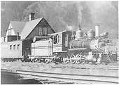 3/4 engineer's-side view of D&amp;RGW #268 with caboose #0588 at the Crested Butte depot.<br /> D&amp;RGW  Crested Butte, CO  Taken by Richardson, Robert W. - 7/3/1952