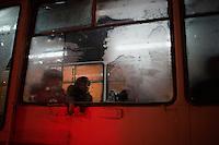 A woman rides a bus in Ufa, Bashkortostan, Russia.