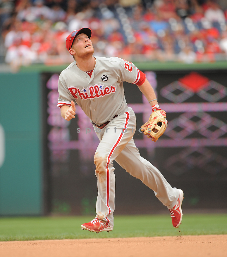 Philadelphia Phillies Cody Asche (25) during a game against the Washington Nationals on August 3, 2014 at Nationals Park in Washington, DC. The Nationals beat the Phillies 4-0.