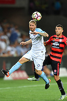 Melbourne, 6 January 2017 - LUKE BRATTAN (26) of Melbourne City heads the ball in the round 14 match of the A-League between Melbourne City and Western Sydney Wanderers at AAMI Park, Melbourne, Australia. Melbourne won 1-0 (Photo Sydney Low / sydlow.com)
