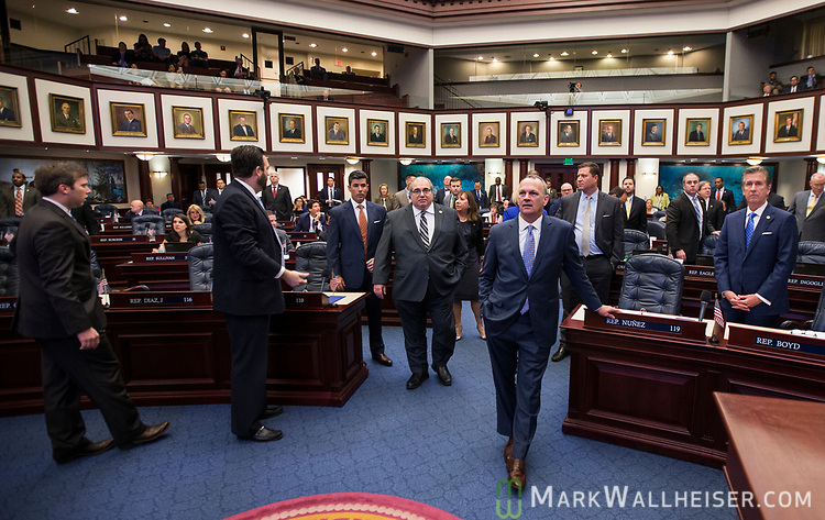 Speaker of the House Richard Corcoran, R- Land O' Lakes,   center, during a recognition from the floor of the House of Representatives at the Florida Capitol in Tallahassee, Florida.
