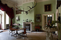 A pair of antique elk antlers hangs above the classical mantelpiece
