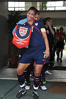 US National Team captain Shannon Boxx poses for the photographers at the 2010 Algarve Cup game in Vila Real Sto. Antonio, Portugal.