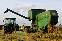 GERMANY old John Deere combine harvester 360 from 1968 harvesting oats at organic farm / Deutschland , alter John Deere Maehdrescher 360, Baujahr 1968, im Einsatz bei Haferernte auf dem Storkenhof von demeter Landwirt Franz- J. Burmester in Hamwarde bei Geesthacht