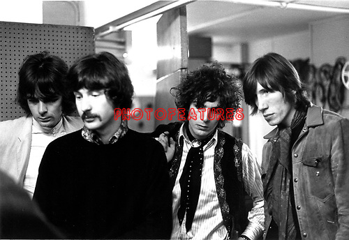Pink Floyd 1967 Rick Wright, Nick Mason, Syd Barrett and Roger Waters at the BBC.© Chris Walter.