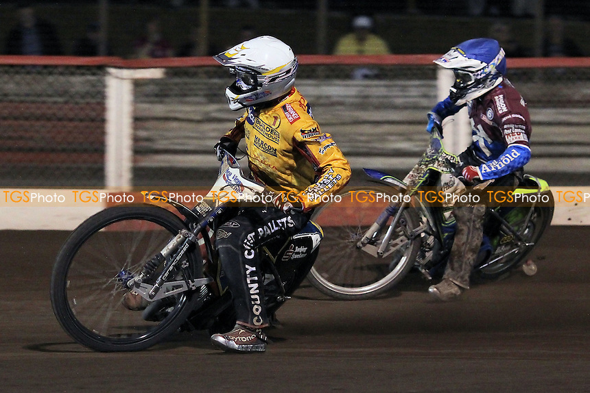Heat 11: Bjarne Pedersen (white) ahead of Justin Sedgmen - Lakeside Hammers vs Birmingham Brummies - Sky Sports Elite League Speedway at Arena Essex Raceway, Purfleet - 10/08/12 - MANDATORY CREDIT: Gavin Ellis/TGSPHOTO - Self billing applies where appropriate - 0845 094 6026 - contact@tgsphoto.co.uk - NO UNPAID USE.