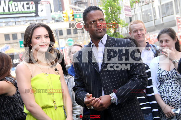 May 10, 2012 AJ Calloway interviews Katharine McPhee on the show Extra to talk about NBC's TV series 'SMASH' in New York City. Credit: RW/MediaPunch Inc.