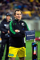 Assistant referee Glen Jackson during the Super Rugby semifinal match between the Hurricanes and Chiefs at Westpac Stadium, Wellington, New Zealand on Saturday, 30 July 2016. Photo: Dave Lintott / lintottphoto.co.nz