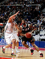 Real Madrid's Nikola Mirotic and Brose's Massey during Euroliga match. February 28,2013.(ALTERPHOTOS/Alconada)