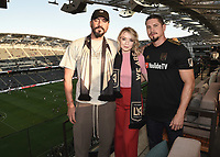 "LOS ANGELES - AUGUST 21: Clayton Cardenas, Sarah Bolger and JD Pardo at FX's ""Mayans M.C."" Activation at Los Angeles Football Club at Banc of California Stadium on August 21, 2019 in Los Angeles, California. (Photo by Scott Kirkland/FX Networks/PictureGroup)"